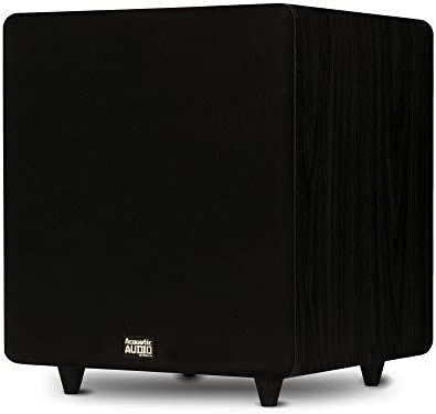 Acoustic Audio PSW500-12 Residence Theater Powered 12″ LFE Subwoofer Black Entrance Firing Sub