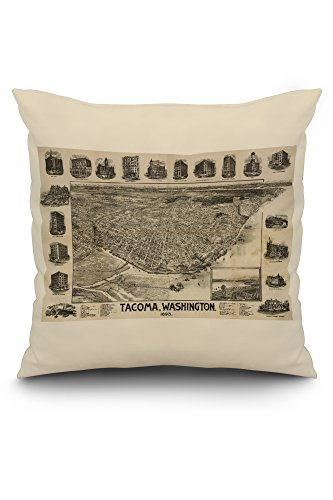 (Tacoma, Washington - (1893) - Panoramic Map (20x20 Spun Polyester Pillow, White Border))
