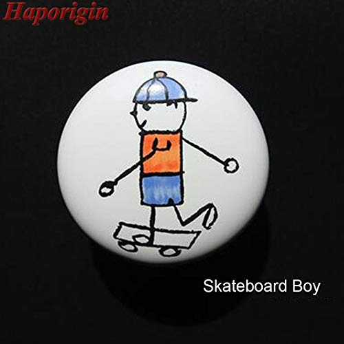 2pcs Cartoon Ceramic Kitchen Cabinet Knobs Sports Kids Wardrobe Handles Children Furniture Bedroom Dresser Drawers Closet Pulls - (Color: Skateboard boy)