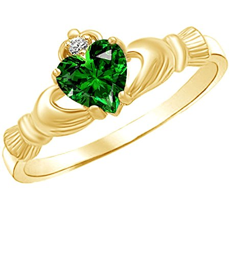 Jewel Zone US Heart Shaped Simulated Emerald & Cubic Zirconia Claddagh Ring in 14k Yellow Gold Over Sterling Silver Ring Size - 8