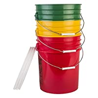 Hudson Exchange Premium 5 Gallon Bucket with White Lid, HDPE, Green/Yellow/Red, 3 Pack