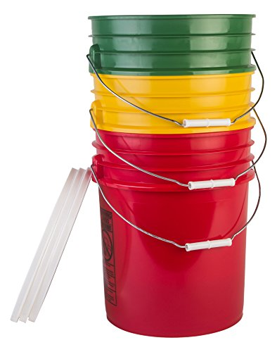 Hudson Exchange Premium 5 Gallon Bucket with White Lid, HDPE, Green/Yellow/Red, 3 Pack by Hudson Exchange