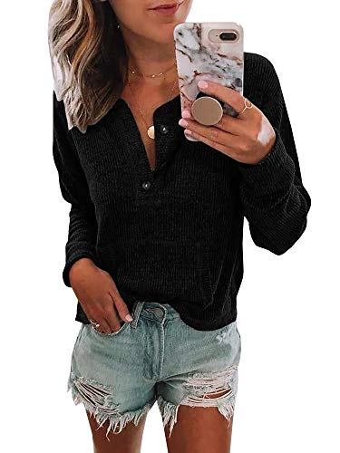 Womens V Neck Henley Shirts Pocket Ribbed Long Sleeve Button Down Tops Casual Loose Fit Tees Black