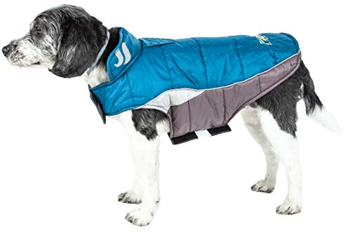 DOGHELIOS 'Hurricane-Waded' Plush Adjustable 3M Reflective Insulated Winter Pet Dog Coat Jacket w/ Blackshark technology, X-Small, Blue Wave