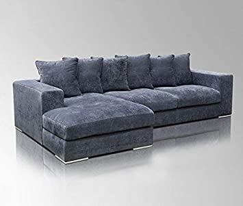 Amaris Elements Newman Ecksofa Mit Ecke Links Blau Grau Stoff