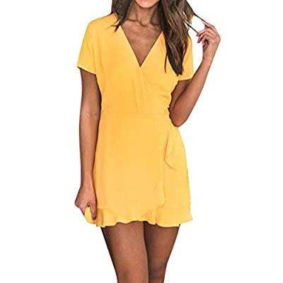 JustWin Women Summer Plus Size Soild Color V-Neck Short Sleeve Dress Loose Lightweight Sexy Elegant Leisure Dress