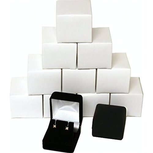 12 Black Flocked Earring Gift Boxes Jewelry Box (Flocked Bow)