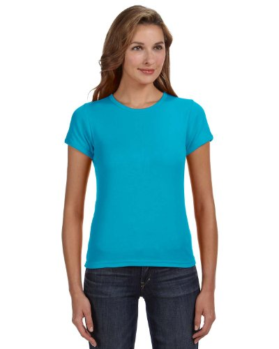 Anvil Cap Sleeve T-shirt (Anvil Women's 1X1 Rib Scoop Neck Cap Sleeves T-Shirt, Caribbean Blue, Medium)
