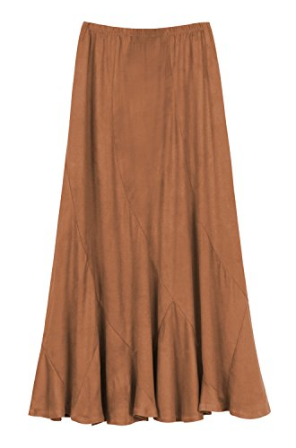 (Urban CoCo Women's Vintage Elastic Waist A-Line Long Midi Skirt (XL, Brown))