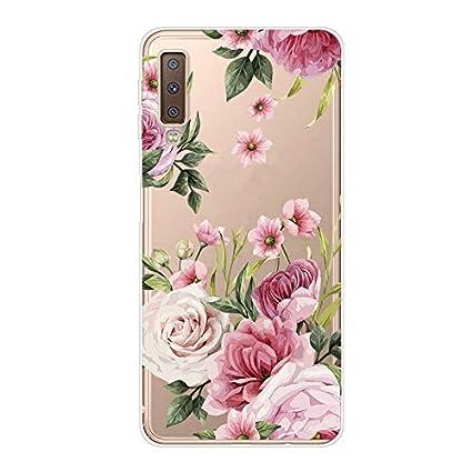 Moiky Clear TPU Coque pour Galaxy A7 2018,Silicone Coque pour Galaxy A7 2018 /Él/égant Cr/éativit/é Fleur Rouge Imprim/é Ultra-Mince Antichoc Doux Gel /Étui Housse Coque