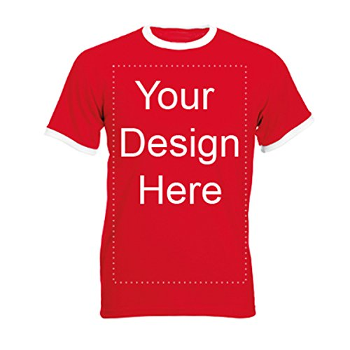 Add Your Own Personalized Message or Image Custom Text Name Men Ringer T-Shirts, Mens-Red/White-XLarge