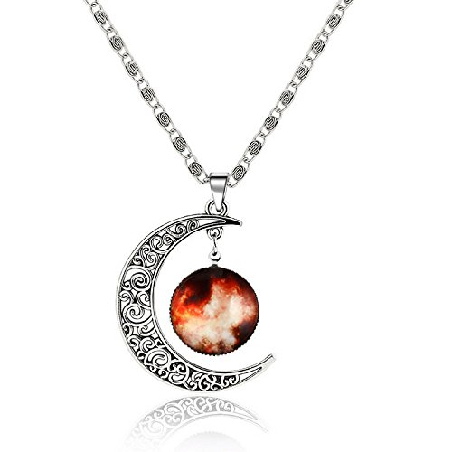 Luvalti Galaxy & Crescent Cosmic Moon Pendant Necklace, Orange Glass, 17.5 Chain, Great Gift for Women