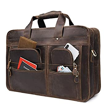 Image of Augus 17 inch Full Grain Leather Laptop Briefcases for Men Business Travel Messenger Bag with YKK Metal Zipper Brown Briefcases