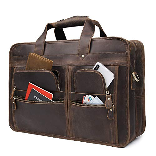Augus 17 inch Full Grain Leather Laptop Briefcases for Men Business Travel Messenger ()