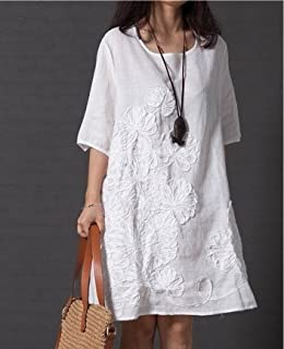 Wpcheng Women Fashion Summer Style Feminino Vestido T -Shirt Loose Women Cotton Embroidered Casual Dress