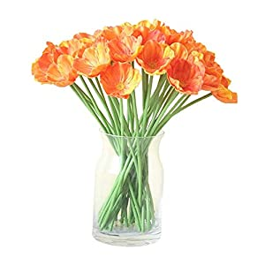 Shareculture 20 Pack Artificial Flowers,Artificial Poppies Flowers Fake Wedding Bouquet Arrangements Poppy Flower for Home Kitchen Table Centerpieces Orange Decorations Red 23