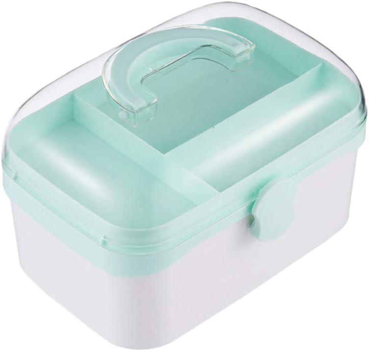 TOPBATHY Caja de Plástico de Primeros Auxilios Vacía Caja de Almacenamiento de Medicina Portátil con Asa Y Compartimentos Kit de Emergencia Familiar Contenedor Tamaño S (Azul)