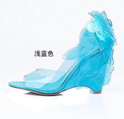 Nuovi Heel Shoes And Elegance Dinner Sandali farfalle Lady Slope Service Belle With Azzurro da donna prodotti A Temperament zxPqwEU8