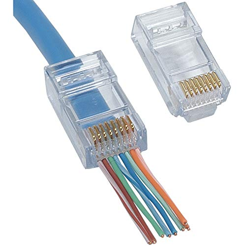 Delcast 100pcs EZ RJ45 Pass Through Modular Plug Network Cable Connector End 8P8C CAT6 ()