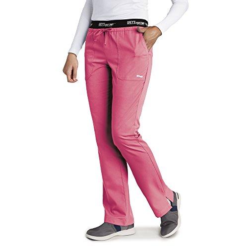 Grey's Anatomy Women's 4275 3 Pocket Logo Waist Pant With Drawstring- Coral Crush- - Coral Shop