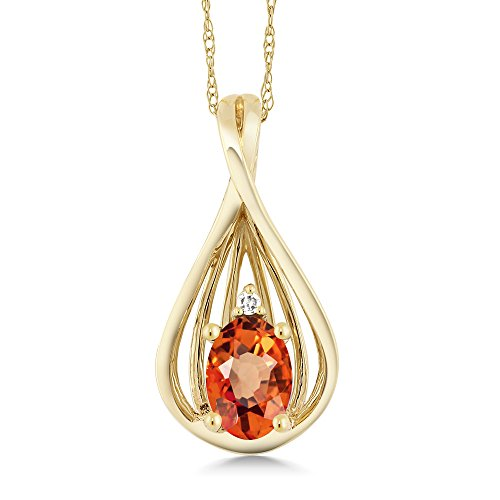 0.55 Ct Oval Orange Sapphire Diamond 10K Yellow Gold Pendant With (Diamond Orange Sapphire Gold Jewelry)