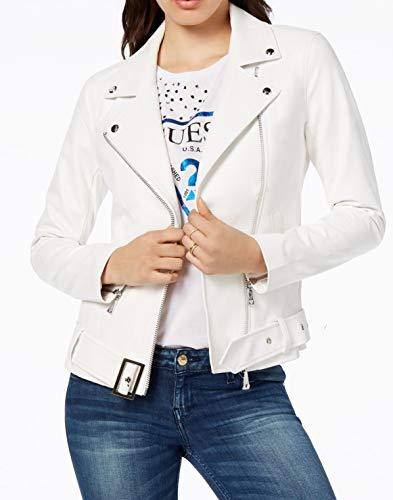 GUESS Womens Fall Heart Moto Coat White M