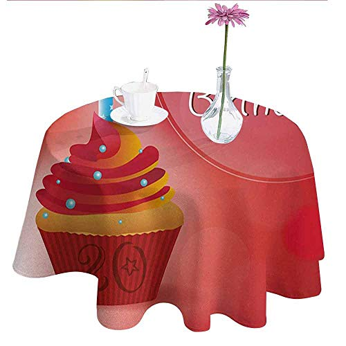 20th Birthday Waterproof Anti-Wrinkle no Pollution Sweet 20 Themed Birthday Party Cupcake with Beams Backdrop Print Table Cloth D55 Inch Vermilion Pink and Red]()