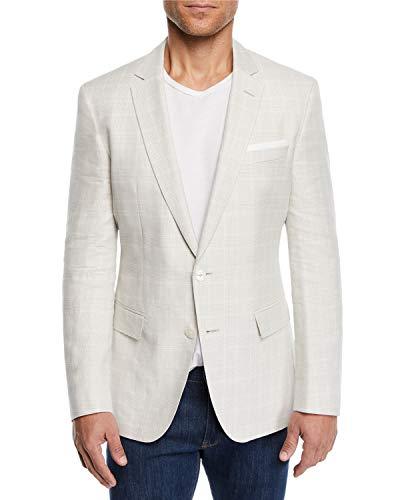 Hugo Boss Men's Hutsons Slim Fit Linen-Wool Tan Windowpane Sport Coat (40R, TAN)