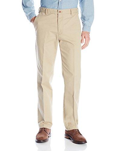 IZOD Men's Performance Stretch Straight Fit Flat Front Chino Pant, Cedarwood Khaki, 34W x 34L