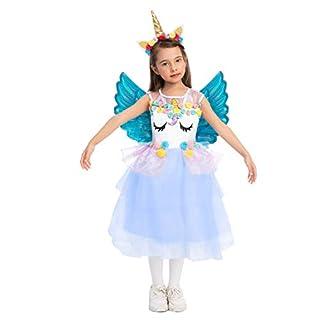 Child Girl Sweet Unicorn Princess Dress Costume (Small (5-7 yr)) Blue