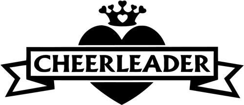 (Mandy Graphics Cheerleader Queen Love Heart Cheerleading Vinyl Die Cut Decal Sticker for Car Truck Motorcycle Windows Bumper Wall Home Office Decor Size- [8 inch/20 cm] Wide and Color- Gloss Black )