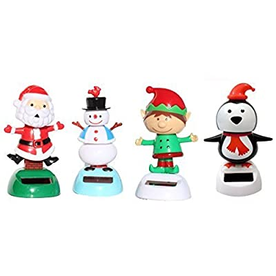 2014 Version -1 Snowman 1 Santa Claus on Chimney 1 Elf 1 Penguin Christmas Solar Powered toy Set of 4: Toys & Games