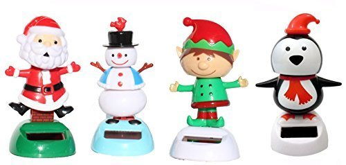 (2014 Version -1 Snowman 1 Santa Claus on Chimney 1 Elf 1 Penguin Christmas Solar Powered toy Set of 4)