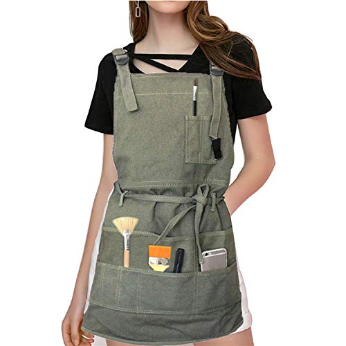 Adjustable Painting Apron with Pockets - Artist Apron Gardening Canvas Apron With 10 Pockets/Cross-Back Strap/Adjustable Neck Strap/Waist Ties for Women Men Adult, Adjustable M to XXL