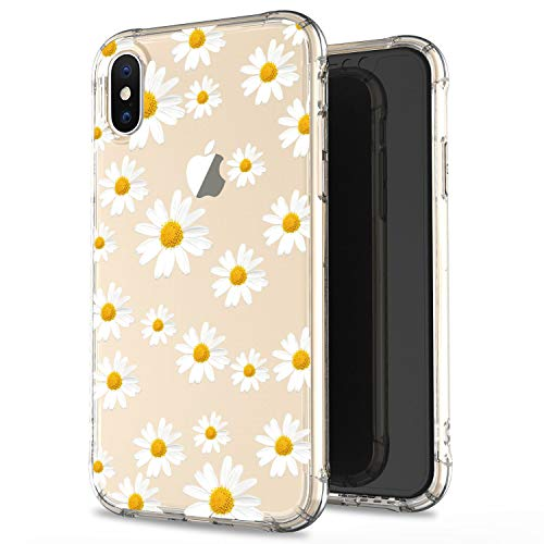 (JIAXIUFEN Compatible with iPhone X iPhone Xs Case Clear Cute White Daisies Slim Shockproof Flower Floral Desgin Soft Flexible TPU Silicone Cover Phone Case)