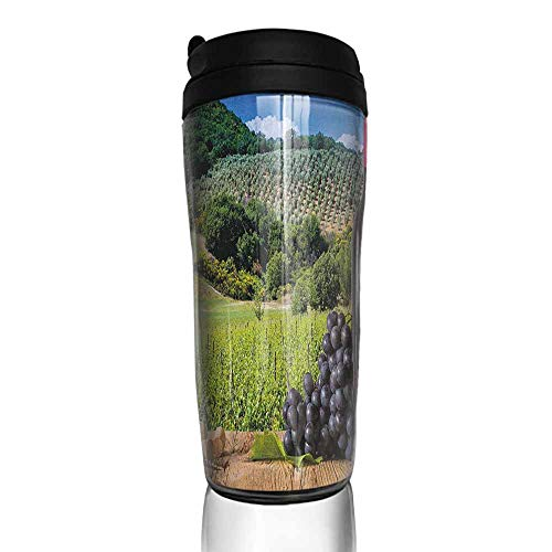 coffee cups holder Wine,Idyllic Tuscany Country Landscape Agriculture Harvest Grape Plantation, Black Green Pale Brown 12 oz,travel coffee cup for dad