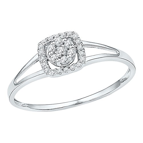 Sonia Jewels Size 9.5-10k White Gold Round Diamond Square Frame Cluster Ring (1/10 (White Diamond Square Ring)