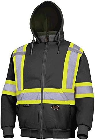 Pioneer V1060471-2XL High Visibility Work Hoodie, Polyester Fleece, Black, 2XL