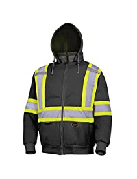 Pioneer V1060471-5XL High Visibility Work Hoodie, Polyester Fleece, Black, 5XL