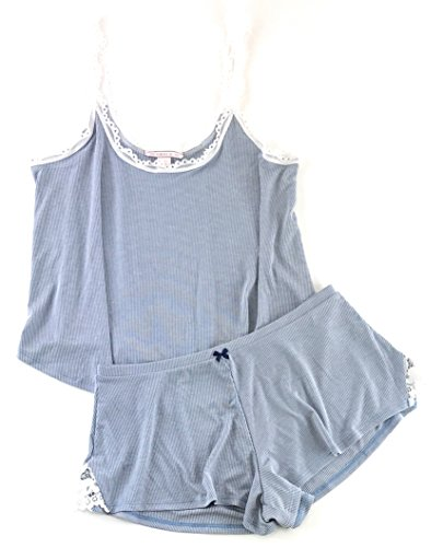 Victoria Secret Wear - Victoria's Secret Sleepwear Ribbed Cami Tank & Shorts Pajamas Set (Denim, Medium)