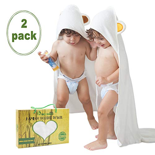 Hooded Towels For Baby (2 Pack ) Organic Bamboo Baby Towels For Infants Newborns Very Soft, Hypoallergenic, Ultra Absorbent Baby Bath Towel For Girls And Boys