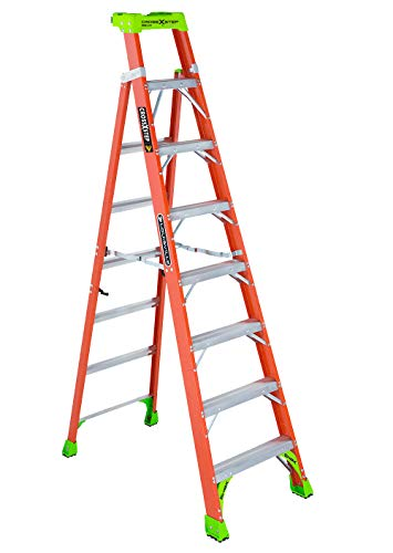 Ladder Fiber - Louisville Ladder 8-Foot Fiberglass Step/Shelf Ladder, 300-Pound Capacity, Orange, FXS1508