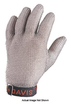 Honeywell Large Blue Sperian Whiting + Davis Stainless Steel Ambidextrous Fully Enclosed Cut Resistant Gloves With Wrist Strap Cuff And Mesh Lined