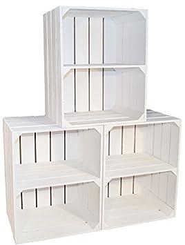 Juego de 3 cajas de fruta apilables de color blanco, con tablones intermedios horizontales, de 50 x 30 x 40 cm: Amazon.es: Hogar