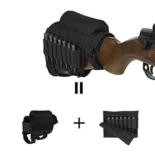 Purchase Rifle Buttstock, Hunting Shooting Tactical Cheek Rest Pad Ammo Pouch with 7 Shells Holder