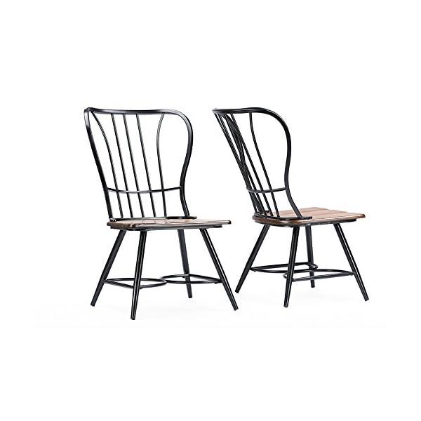 Baxton Studio Longford Dark-Walnut Wood and Black Metal Vintage Industrial Dining Chair (Set of 2)