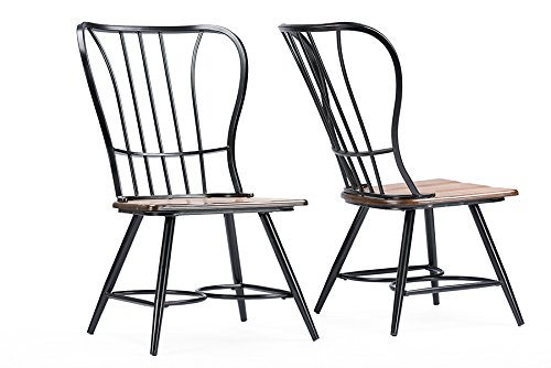 Baxton Studio Longford Dark-Walnut Wood and Black Metal Vintage Industrial Dining Chair (Set of 2)