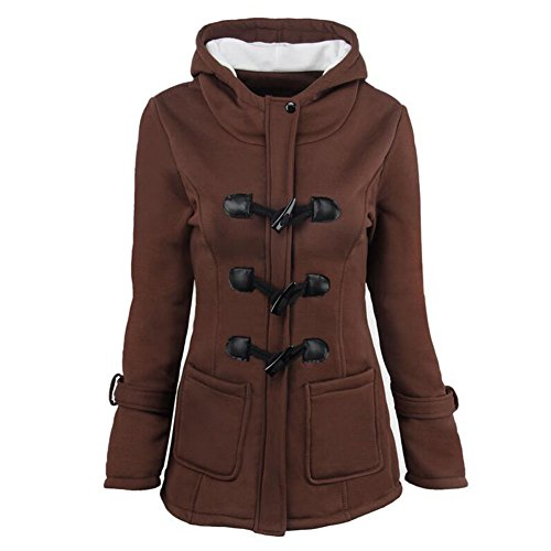 Overcoat Coat Horn Outerwear Wool Brown Outdoor Plus Button Size Haodasi Hoodie Jacket Classic Blended Winter Warm Women Trench zZnqgP