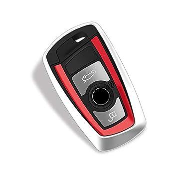 Alftek – Funda para llave smart key de BMW serie 1 2 3 4 5 6 7, X4 X5 X6 – para llave de 4 botones