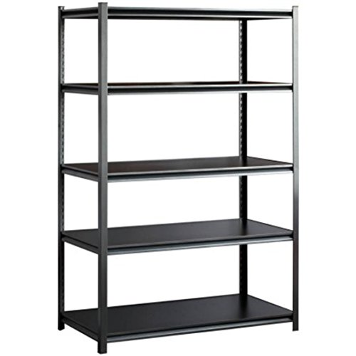 Five Shelf Heavy-Duty Steel Z-beam Construction Black Shelving Unit Organizer